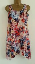 EVANS White Purple Red Crinkle Sleeveless Floral Tunic Top Blouse PLUS SIZE16-32