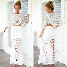 Women Summer Lace Floral Half Sleeve Swimwear Bikini Cover Up Beach Shirt
