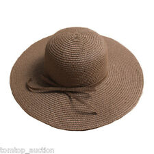 Women Folding Straw Hat Wide Brim Bow Floppy Summer Sun Beach Cap Boho Coffee
