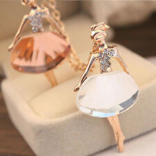 New!Women Alloy Crystal Ballet Dancer Girl Clavicle Long Chain Necklace Pendant