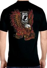 Mens Patriotic Flaming Eagle POW-MIA Design On Hanes Beefy T Biker T-Shirt