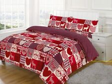 Vintage Patchwork Duvet Cover Set Love Heart Red & White Bedding Bed Set