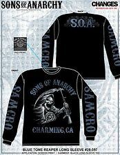 SONS OF ANARCHY BLUE TONE REAPER SOA SAMCRO BIKER LONG SLEEVE T SHIRT S-3XL
