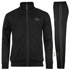Lonsdale Mens Tracksuit Black Track Top & Track Pants Sizes S - 4XL