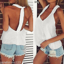 Sexy Women's Chiffon Loose Casual Vest Sleeveless Shirt Tank Summer Tops Blouse