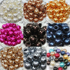 Wholesale 10/50Pcs Big Hole Lucite Resin Pearl Spacer Crafts Loose Beads 12mm