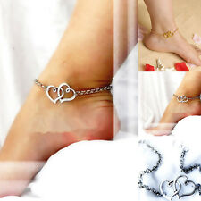 Fashion Jewelry Double Heart Chain Beach Sexy Sandal Anklet Ankle Bracelet