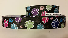 "Grosgrain Ribbon, Multi-Color Dog Paw Prints & Shadow Prints on Black, 1"" Wide"