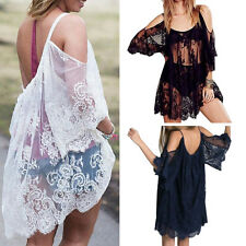 Women's Summer Sexy Lace Floral Casual Short Evening Cocktail Party Mini Dress