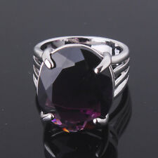 Sz6-Sz10!Breathtaking purple Swarovski Crystal 18k white gold filled LADY ring