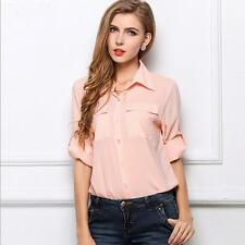 Trendy New Style Womens Fashion Pocket Chiffon Blouses Affordable Comfortable