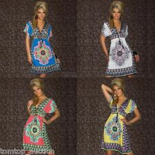 Women Sexy Short Sleeve Deep V Bohemian BOHO Beach Wear Cover Up Summer Dress