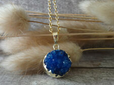 Agate Drusy Druzy Pendant Raw Blue Gemstone Gold Plated Statement Necklace