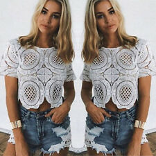 Lady Summer Short Sleeve Blouse Lace Hollow Casual T-shirt Crop Tops