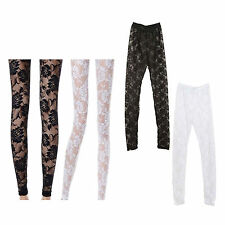 New Women Sexy Lace Flowers Hollow Gauze Spandex Stretch Skinny Pants Legging