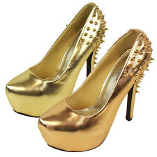 Ladies High Heel Spike Studs Stiletto Court Shoes Womens Platform Studded Shoe