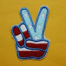 Yes Peace Hand Sign Us Flag America Iron on Sew Patch Applique Badge Embroidery
