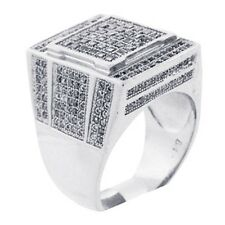 Mens 14K White Gold Fn Lab Diamond 3D Champion Pinky Engagement Ring Band
