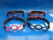 NEW real leather locking silicone rubber SPIDER RING BLACK RED PINK ball gag