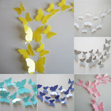 12Pcs DIY Stylish 3D Butterfly Art Wall Sticker Decal Home Room Decorations