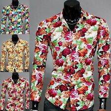 Fashion Men Long Sleeve Casual Shirts Youth Fitted Floral Button Front Tops