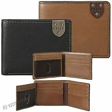 RELIC Mens Bifold Wallet w/Two Photo ID Travis Traveler Leather Black Brown $30