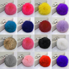 Lovely Genuine Rabbit Fur Ball Car Sliver Keychain Handbag PomPom Charm Key Ring