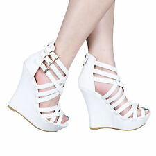 Yab Strappy Upper Ankle High Wedge Sandals-White