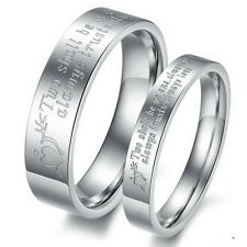 Stainless Steel Couple Rings Wedding Ring Promise Band Love Gift
