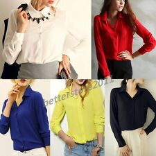 HOT Fashion Women Lady Loose Long Sleeve Chiffon Casual Blouse Shirt Tops Blouse