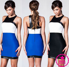 Womens Ladies Celeb Bodycon Mini Leather Look Summer Club Dress Party Evening