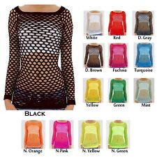 New Sexy Long Sleeve Fishnet Shirt Women Top Go Go Dance Wear One Size New -N01