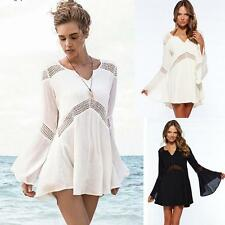 Women Summer Boho Bohemian Trumpet Sleeve Lace Party Evening Dress Beach dress
