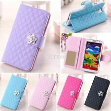 Grid Flip Card Wallet Leather Case Cover Stand For Samsung Galaxy Note 3 S5 S3 B