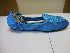 Footzyrolls Footzyfolds Girl Toddlers Torquoise Sparkles Ballet Slippers 887298T