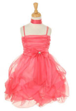 New Flower Girls Coral Organza Dress Pageant Christmas Party Fancy Dressy w Sash