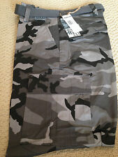 """NWT Men's Regal Wear Gray Camouflage Camo Cargo Pants ALL SIZE 34"""" length"""