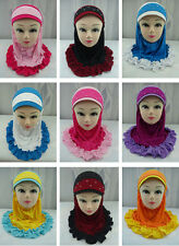 2015  New Fashion Kids Girls Muslim Islamic Hijab Arab Headwear  For 6-12 Y