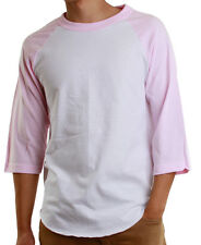 Mens 3/4 Raglan Sleeve Baseball T-Shirt, Athletic Casual Tees - White/Pink