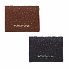 New Genuine DC Shoes Leather Bifold Wallet Card  Black Brown Mens Mens Boxed