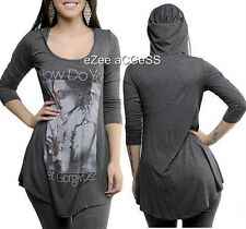 SEXY WOMENS COFFEE CHARCOAL RHINESTONE SUBLIMATION TUNIC SHIRT BLOUSE HOODIE TOP
