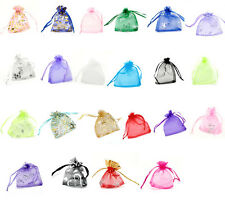 100pcs Drawable Organza Wedding Gift Bags Jewelry Pouches 7x9