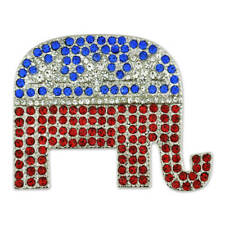 PinMart's Rhinestone Republican Party Elephant Political Brooch Lapel Pin