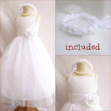 Beautiful white tulle communion flower girl party dress FREE HEADPIECE all sizes