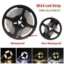 5M 10M 5050 3014 300/600 LED Flexible Strip Light Wateproof Cold /Warm White