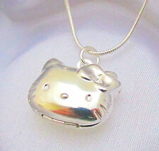 925 Sterling Silver Hello Kitty Cat Kids Locket Pendant Necklace Photo Gift Box