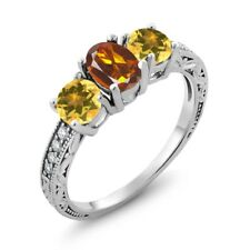 1.72 Ct Oval Orange Red Madeira Citrine Yellow Citrine 925 Sterling Silver Ring