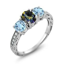1.72 Ct Oval Blue Mystic Topaz Sky Blue Aquamarine 925 Sterling Silver Ring