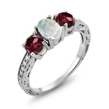 1.95 Ct Oval White Simulated Opal Red Rhodolite Garnet 925 Sterling Silver Ring