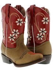 Kid's children toddler girl brown red leather cowgirl cowboy boots flower snip